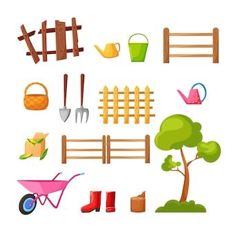 Um conjunto de ferramentas de jardim um garfo um balde um carrinho um regador uma cerca botas uma cesta