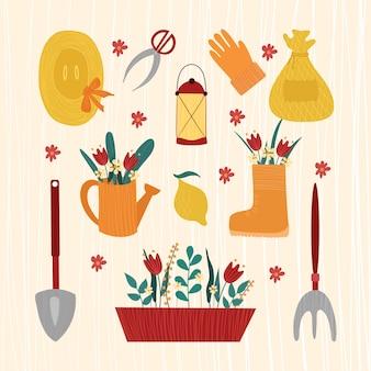 Um conjunto de ferramentas de jardim.