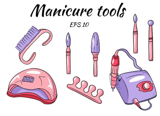 Um conjunto de ferramentas de manicure.