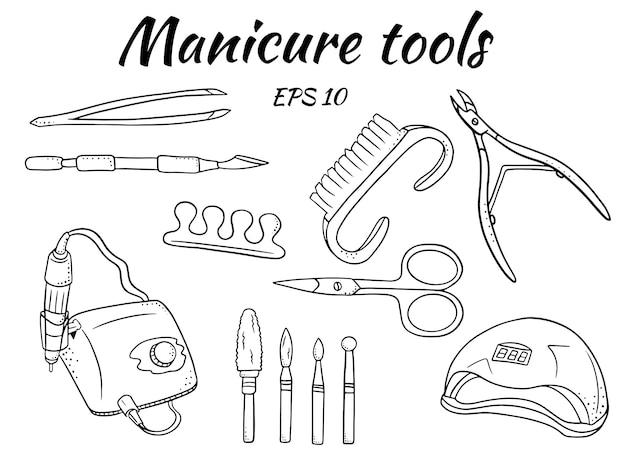 Um conjunto de ferramentas de manicure