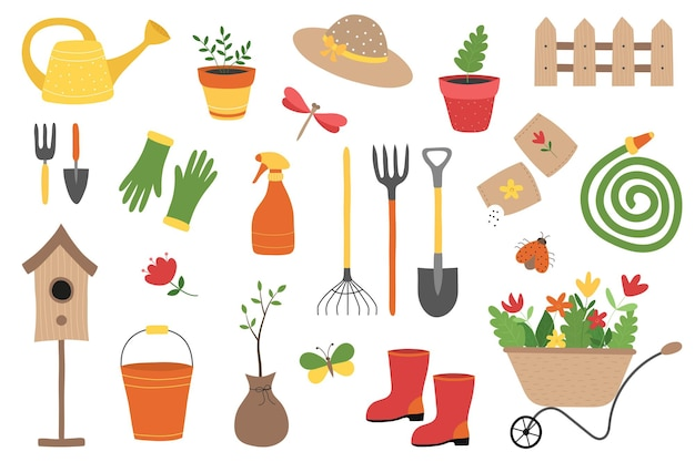 Um conjunto de ferramentas e equipamentos de jardinagem