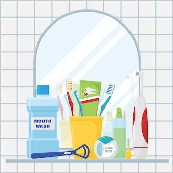 Um conjunto de ferramentas para limpeza de dentes e higiene bucal