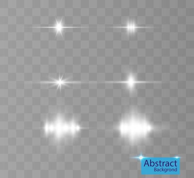Um conjunto de flashes de luz brilhante cintilam com belas luzes.