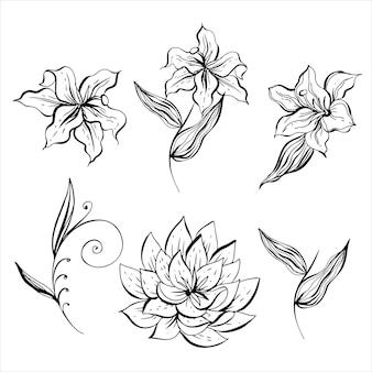 Um conjunto de flores em preto e branco para decoração. vetor