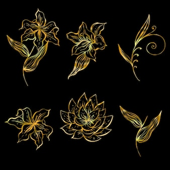Um conjunto de flores lineares para decoração na cor ouro.