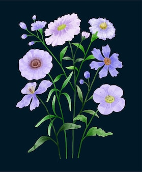 Um conjunto de flores pintadas com aquarela para acompanhar vários cartões e cartões comemorativos