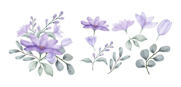 Um conjunto de flores pintadas com aquarelas