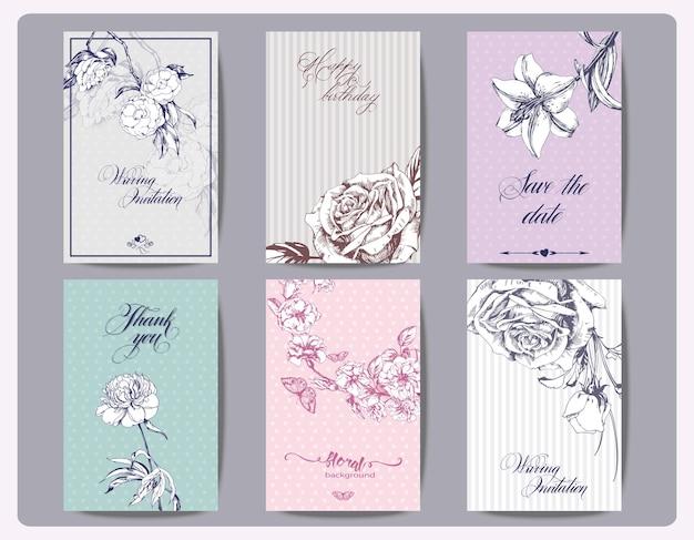 Um conjunto de folhetos, brochuras, modelos de design cartões vintage com vetor de flores