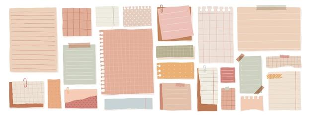 Um conjunto de folhetos para anotações com diferentes layouts