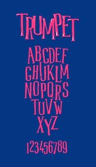 Um conjunto de fontes. letras maiúsculas. fonte irregular.