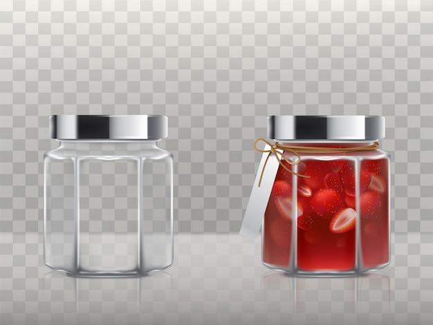 Um conjunto de frascos de vidro está vazio e com um doce de morango