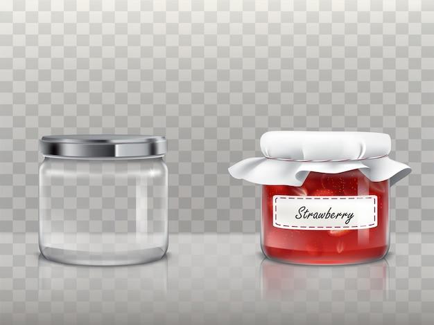 Um conjunto de frascos redondos de vidro está vazio e com geléia de morango
