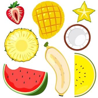 Um conjunto de frutas cortadas metade