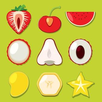 Um conjunto de frutas fatiadas