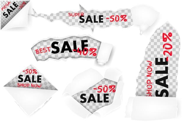 Um conjunto de furos em papel branco com lados rasgados