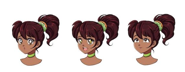 Um conjunto de giros anime girl com diferentes expressões. cabelo escuro, grandes olhos negros.