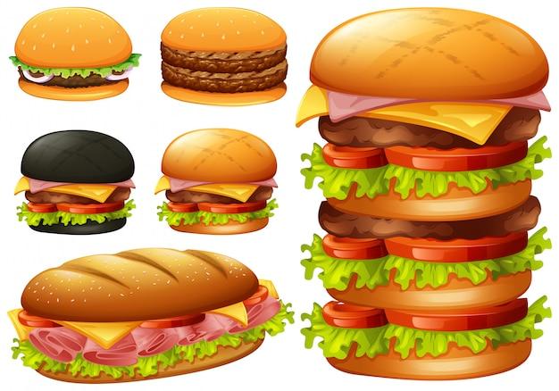 Um conjunto de hambúrguer