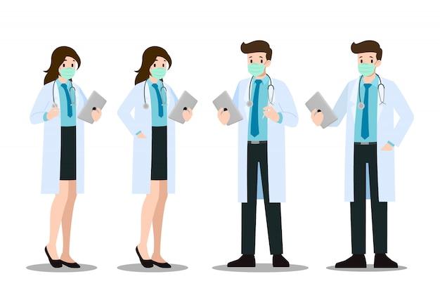 Um conjunto de homem e mulher coloca médico que usam máscara e jaleco.