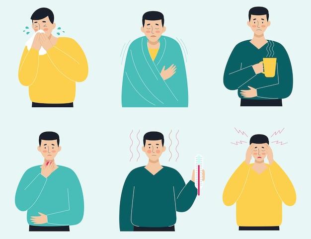 Um conjunto de homens doentes. vírus, dor de cabeça, febre, tosse, coriza. o conceito de doenças virais, coronavírus, epidemias, covid-19, resfriados. ilustração em estilo simples