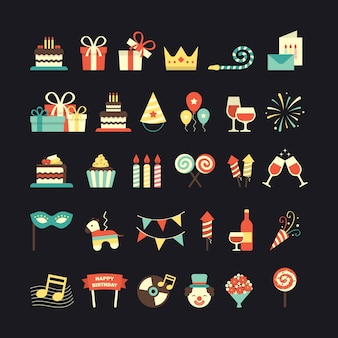 Um conjunto de ícones aniversário