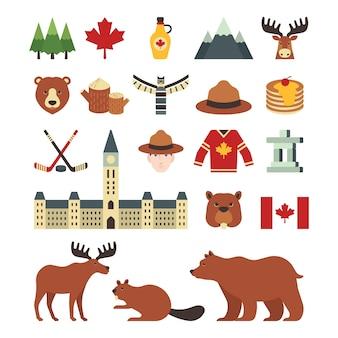 Um conjunto de ícones canadá