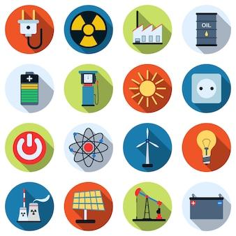 Um conjunto de ícones coloridos de energia e poder.