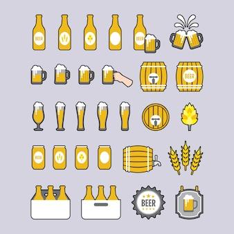 Um conjunto de ícones da cerveja no estilo plana