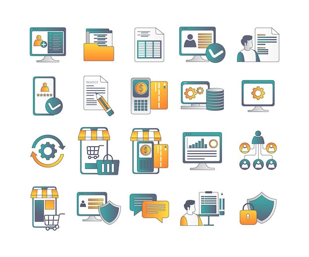 Um conjunto de ícones de aplicativos inteligentes para plataforma de comércio eletrônico