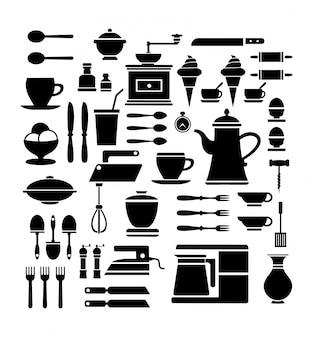 Um conjunto de ícones de café