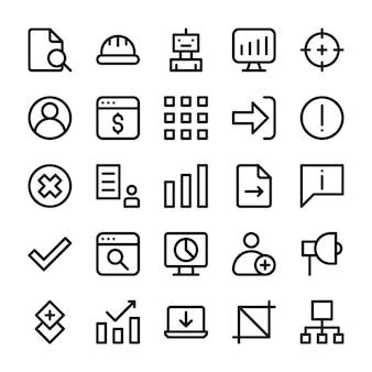 Um conjunto de ícones de linha da interface do usuário Vetor Premium