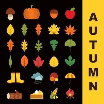Um conjunto de ícones do outono no estilo plana