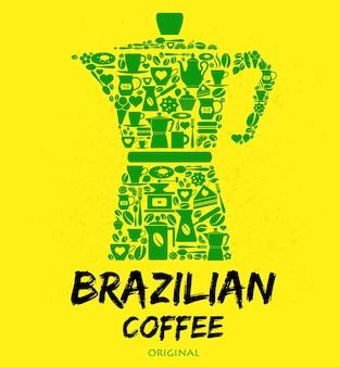 Um conjunto de ícones e símbolos brasileiros verdes sobre fundo amarelo.