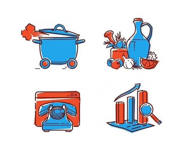 Um conjunto de ícones na alimentação saudável.