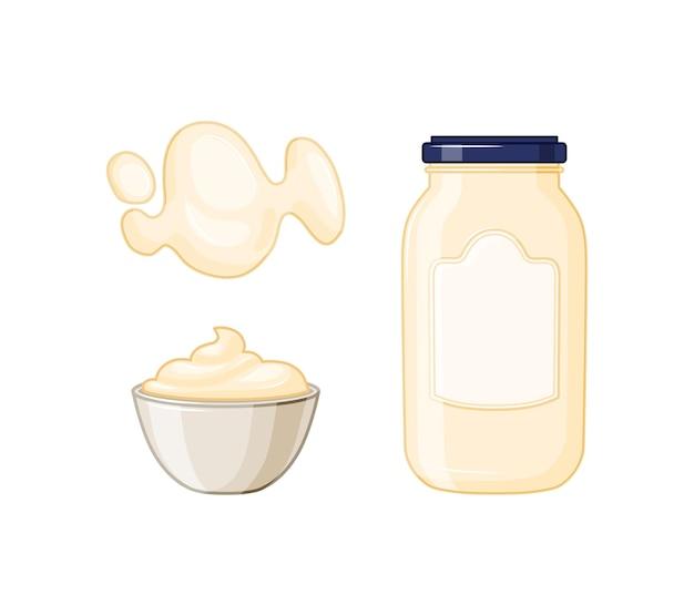 Um conjunto de ícones para embalagens de alimentos, layout. uma garrafa de vidro de maionese no estilo cartoon. ilustração vetorial.