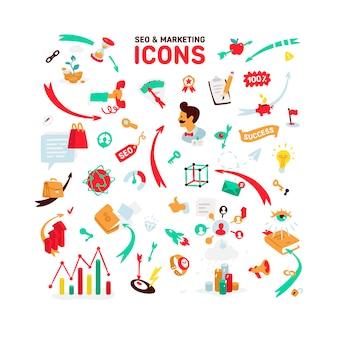 Um conjunto de ícones sobre o tema de seo e marketing.