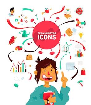 Um conjunto de ícones sobre o tema dos processos de negócios