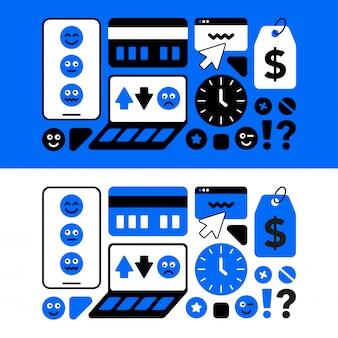 Um conjunto de ícones temáticos do centro de serviços para a reparação de equipamentos móveis
