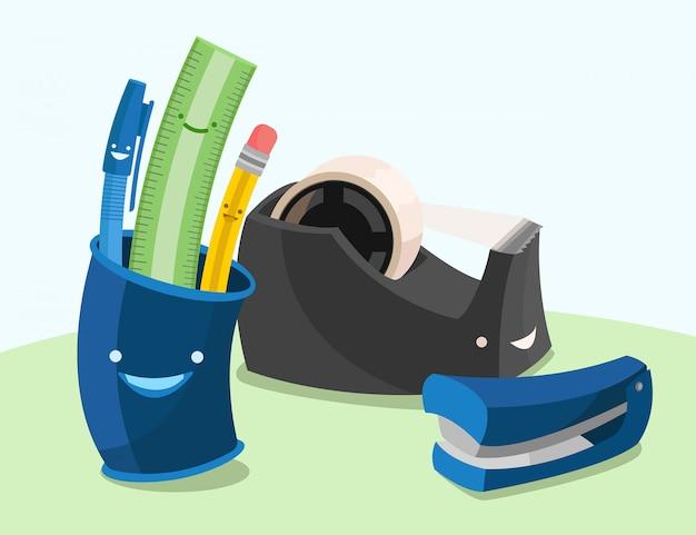 Um conjunto de ilustração de itens essenciais de mesa, caneta, lápis, régua, dispensador de fita, grampeador, porta-lápis