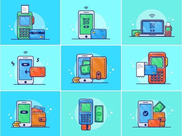 Um conjunto de ilustração de pagamento on-line.