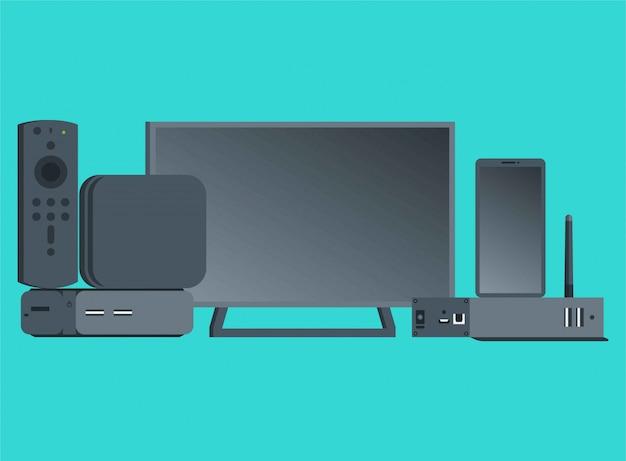 Um conjunto de ilustração plana de itens eletrônicos