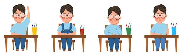 Um conjunto de ilustrações com um aluno sentado em uma mesa de sala de aula. um rapaz asiático de óculos à mesa ergueu a mão.