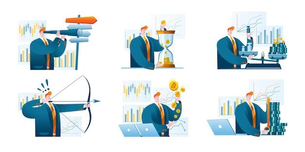 Um conjunto de ilustrações com um especialista financeiro