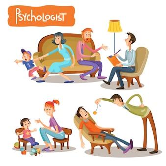 Um conjunto de ilustrações de desenhos animados de vetores, o paciente está falando com um psicoterapeuta,