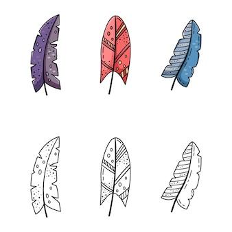 Um conjunto de ilustrações de doodle de penas brilhantes de desenho animado. um conjunto de elementos para o design.