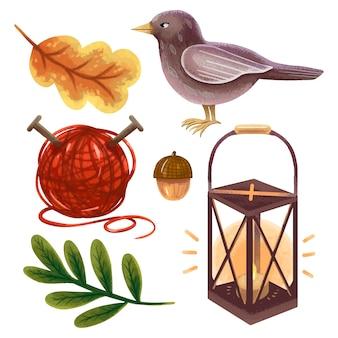 Um conjunto de ilustrações de outono em folhas procriam, um pássaro, uma lanterna, uma bolota, um novelo de linha de tricô, aconchegante, caseiro, enorme