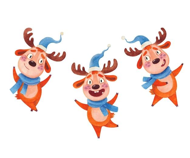 Um conjunto de ilustrações em aquarela com cervos dançando em chapéus de natal