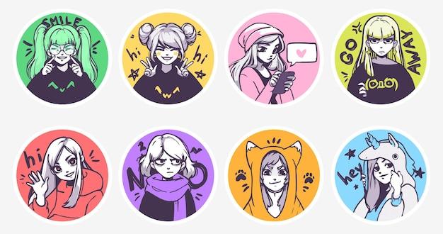 Um conjunto de ilustrações fofas de anime girls em várias roupas fazendo atividades diferentes