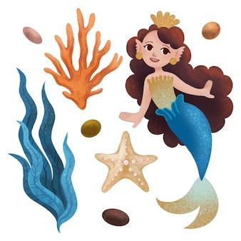 Um conjunto de ilustrações marinhas com uma princesa sereia, uma estrela do mar, coral, alga marinha, uma concha, seixos, uma estrela desenhada com lápis de cor