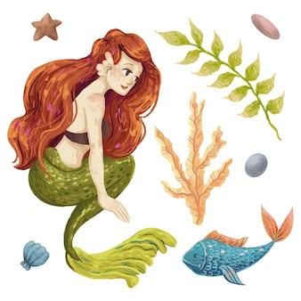 Um conjunto de ilustrações marinhas com uma sereia, um peixe, uma alga, uma concha, seixos, uma estrela desenhada a lápis de cor