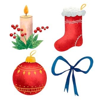 Um conjunto de ilustrações para a vela de ano novo com folhas e frutos vermelhos, uma meia vermelha de natal, uma bola vermelha na árvore de natal, um laço azul